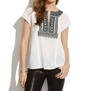 Madewell Kabash Top Black White Embroidered Aztec